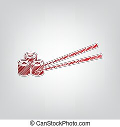 Sushi Rolls. Red gradient scribble Icon with artistic contour gray String on light gray Background. Illustration.