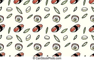 Sushi, rolls, seaweed doodle style seamless pattern. Asian...
