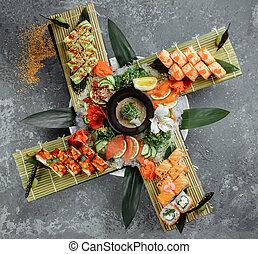 Sushi rolls set. Rolls: Philadelphia, Green Dragon, Hawaii, ...