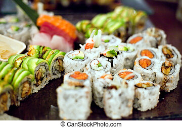 Sushi Rolls Variety - Variety of authentic sushi rolls on a...