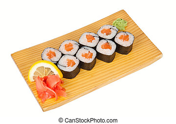 Japanese sushi rolls with fresh salmon on board isolated on white