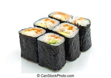 Sushi Rolls with Nori - Six sushi rolls with Tobico caviar, ...