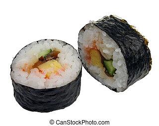 Sushi rolls(futo-maki) isolation over white background