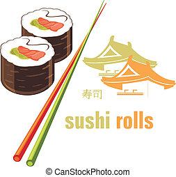 sushi, rouleaux, baguettes