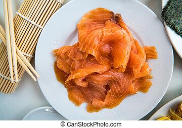 Sushi - Salmon prepared on a dish - Fine salmon fillet...