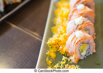 sushi, salmone, rotolo, gamberetto, tempura