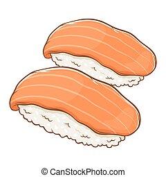 sushi, saumon, nigiri