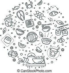 Sushi, seafood outline symbols. Vector illustration - Sushi...