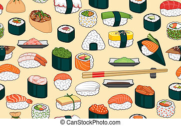 Sushi Seamless Background - Seamless bright background with...