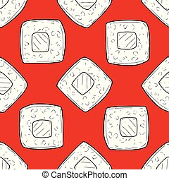 Sushi Seamless Pattern, Design Element with Traditional Oriental Symbol Can Be Used for Fabric, Wallpaper, Packaging Vector Illustration