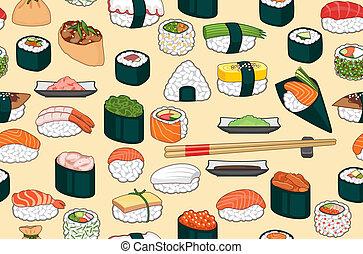 sushi, seamless, plano de fondo