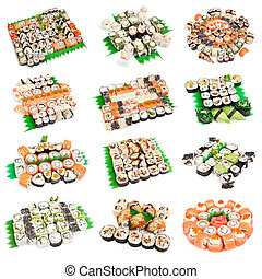 Sushi set - Different types of maki sushi and rolls