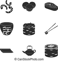 Sushi set icons in black style. Big collection of sushi vector symbol stock illustration