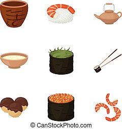 Sushi set icons in cartoon style. Big collection of sushi vector symbol stock illustration