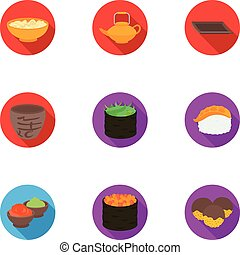 Sushi set icons in flat style. Big collection of sushi vector symbol stock illustration