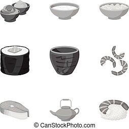 Sushi set icons in monochrome style. Big collection of sushi vector symbol stock illustration