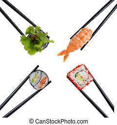 Sushi set in brown chopsticks isolated on white background