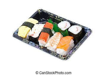 Sushi set in stylish tray isolated on white