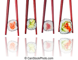 Sushi set in wooden brown chopsticks isolated on white background