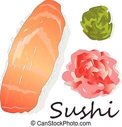Sushi set isolated on white.