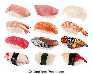 Sushi set - Japan food sushi set on white background