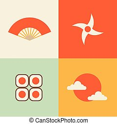 sushi, set, japan:, zon, ventilator, illustratie, vector, ninja, pictogram