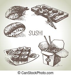 sushi, set, mano, disegnato