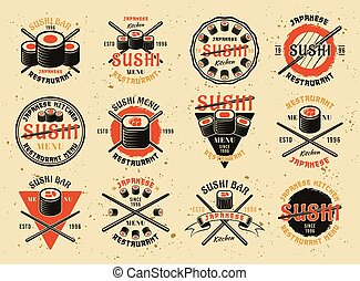 Sushi set of vector emblems