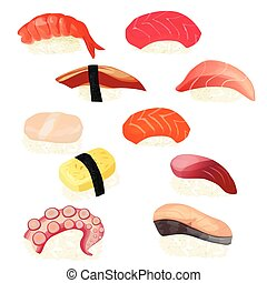 sushi set, vector illustration