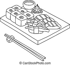 Sushi set vector in hand drawn style