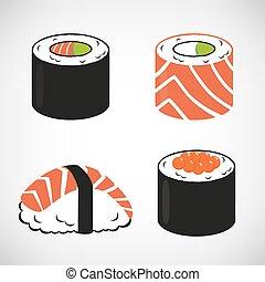 sushi, set, vector, pictogram