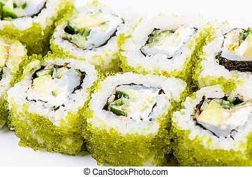 Sushi set with fish and green cavia