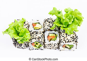 Sushi set with leaves salad