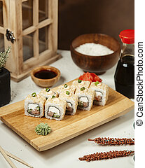 Sushi set with wasabi and ginger 2