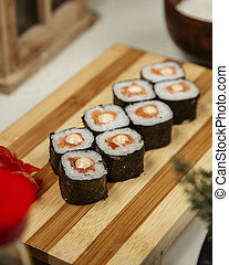 Sushi set with wasabi and ginger 6