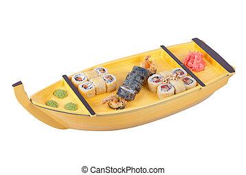 sushi ship isolated on a white background