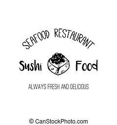 Sushi Shop Label Template. Japanese Food. Roll Silhouette, Seafood Restaurant Badge. Vector illustration isolated on white
