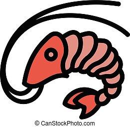 Sushi shrimp icon, outline style
