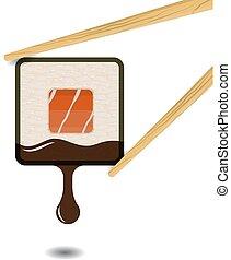 Sushi square roll logotype