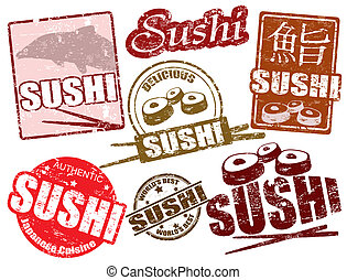 Sushi stamps - Set of grunge rubber stamps with the word...