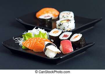 sushi - various types of japanese sushi and sashimi