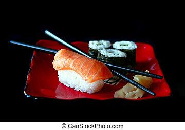 sushi, su, uno, piastra rossa, fuoco, è, su, cibo