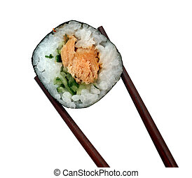sushi - Sushi roll are isolated on white background