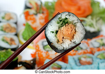 sushi - Sushi roll on a bright background