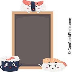 sushi, tábua, ilustração