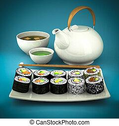 sushi, thee, groene soep