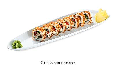 Sushi Tori Kunsei Yasai plate - isolated on white background