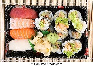 sushi, tradiční, japanese food