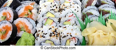 Sushi, traditional japanese food - food banner