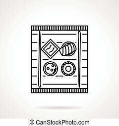 Sushi tray black line vector icon